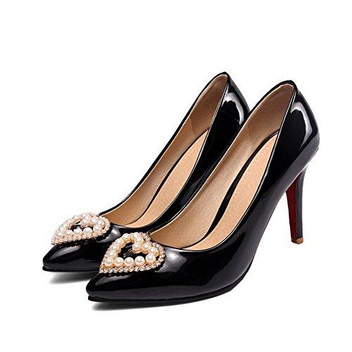 AgooLar Damen Ziehen auf Lackleder Spitz Zehe Stiletto Rein Pumps Schuhe Schwarz