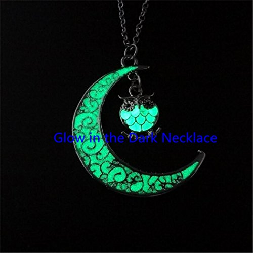 Glow Antique silver tone owl crescent moon pagan wicca witchcraft black choker charm pendant, necklace, choker charm necklace,Glow owl pendant,Glow owl ()