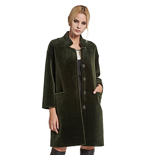 Fur Story Women's Long Lamb Coat Warm Fashion Shearling Coat 3/4 Sleeve Stand up Collar US12 (Green)