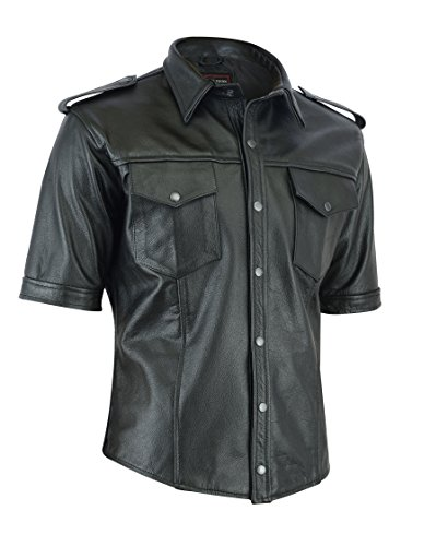 MOTORCYCLE LEATHER SHIRT/T SHIRT LS-TK-78 (L) (78 Leather)