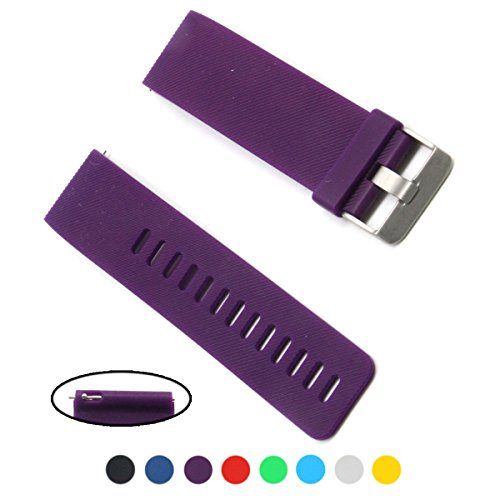[Cute Watchband Style Rubber Replacement Accessory Wrist Band/ Wristband Bracelet Strap with Non-slip Quick Release Spring Bar/ Pins for Fitbit Blaze Smart Fitness Watch, Large Size, Plum] (Quick Release Slip)