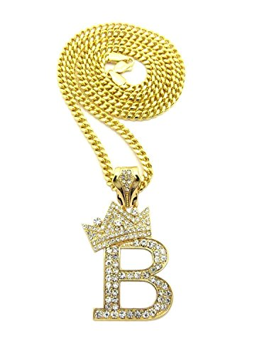 Hip Hop Crown (Lil Boosie Letter B King Crown Mens Iced Out Hip Hop Pendant Cuban / Box / Rope Chain Necklace Set (Gold Cuban Chain))