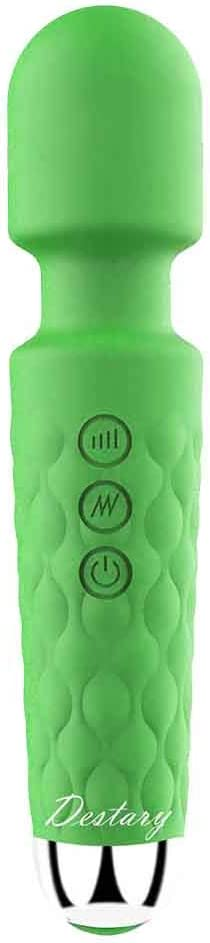 Destary 20 Magic Powerful Wand Massager Modes, Whisper Quiet, Waterproof, Handheld, Cordless for Neck Shoulder Back Body Massage, Sports Recovery and Muscle Aches Gift-Mini Green Christmas Day Gifts