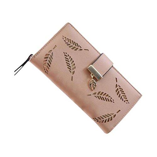 Kaki Feuille cuir Fahion femmes Clutch Fami Holder Carte Purse en élégante w6UfBRxqR
