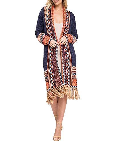 Ferbia Women Boho Long Sleeve Cardigan Open Front Loose Sweater Maxi Bohemian Knit Sweater Aztec Tribal Tassel Fringe