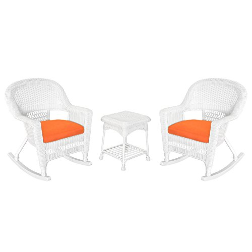Jeco W00206R-B_2-RCES016 3 Piece Rocker Wicker Chair Set with Orange Cushion, White (White Garden Rocker)