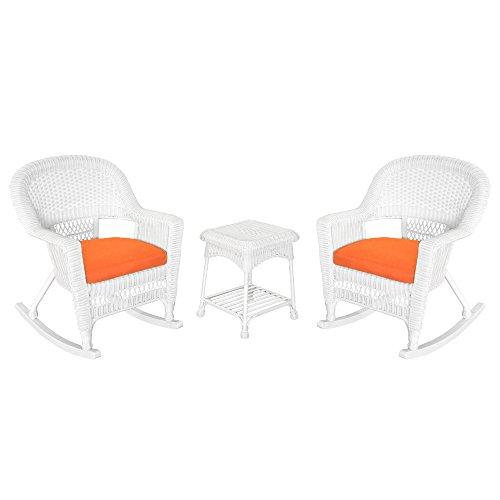 Jeco W00206R-B_2-RCES016 3 Piece Rocker Wicker Chair Set Orange Cushion, White from Jeco Inc.