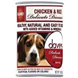 Dave's Natural Canned Dog Food, Delicate Dinners, Easy to Digest, Chicken & Rice, Wheat & Wheat Gluten Free, Pack of 12(13 oz each)