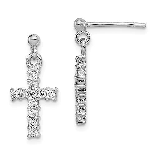 925 Sterling Silver Cubic Zirconia Cz Cross Religious Post Stud Drop Dangle Chandelier Earrings Fine Jewelry Gifts For Women For Her]()