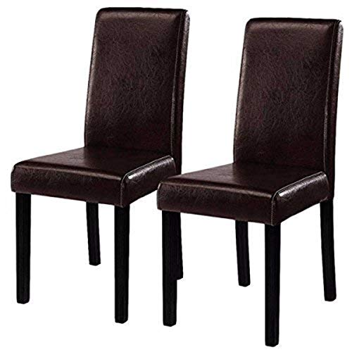 Costway Set of 2 Parson Chairs Elegant Design Leather Modern Dining Chairs Dining Room Kitchen Furniture Urban Style Solid Wood Leatherette Padded Seat (Brown) (Leather Chair Parsons Chair)