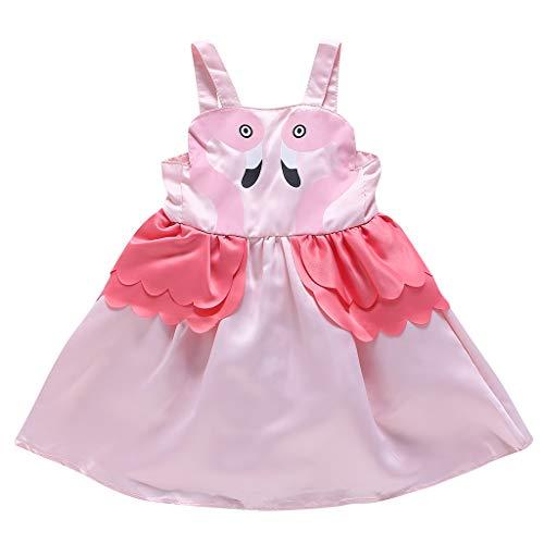Loosebee Cartoon Dress for Girls,Swan Ruffles Dress Animal Print Dresses Casual Sleeveless Blouse Tops Pink