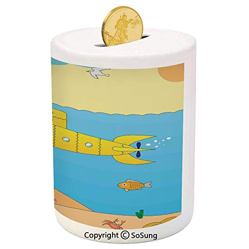 Yellow Submarine Ceramic Piggy Bank,Cartoon Under Sea Adventure Jellyfish Treasure Chest Seagull Fish 3D Printed Ceramic Coin Bank Money Box for Kids & Adults,Blue Yellow Beige