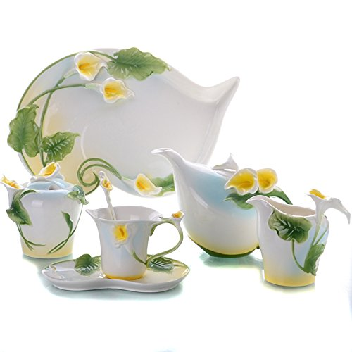 Choholete Porcelain Ceramic Elegant Yellow Alocasia Coffee Mug Set Tea Set 16-Piece by Choholete