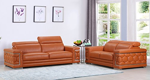 Blackjack Furniture The Usry Collection 2-Piece Genuine Italian Leather Living Room Sofa Set, Camel - Italian Sofa Set