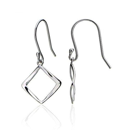 Polished Square Earrings - Hoops & Loops Sterling Silver Geometric Square Polished Dangle Earrings