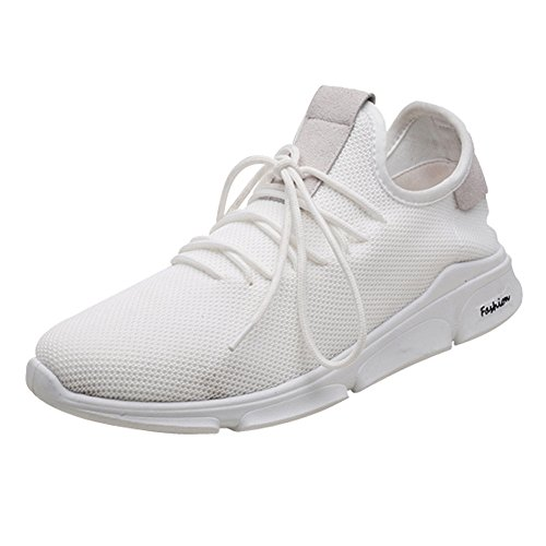 AIMTOPPY Men Mesh Cross Tied Ventilation Gym Shoes Running Shoes (US:6.5, White) by AIMTOPPY Shoe