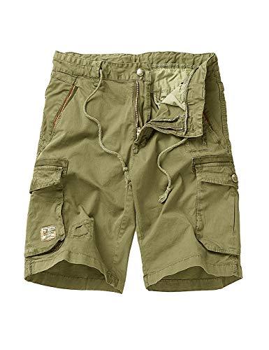 EAGLIDE Men's Regular Fit Cotton Twill Lightweight Cargo Shorts (L6101-Khaki, 31W) - Shorts Cargo Light Khaki