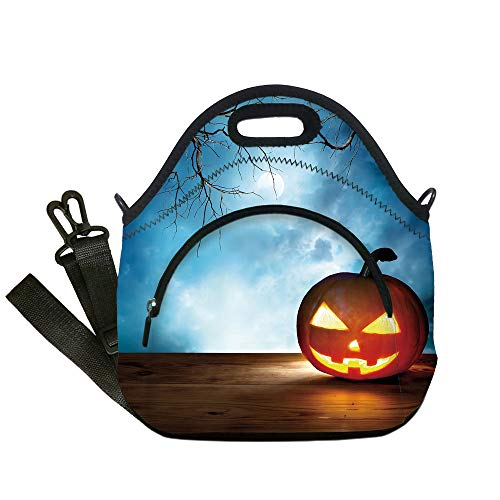 Insulated Lunch Bag,Neoprene Lunch Tote Bags,Halloween,Traditional Celebration Icon Pumpkin on Wooden Board Fantasy Midnight Sky Trees,Multicolor,for Adults and children