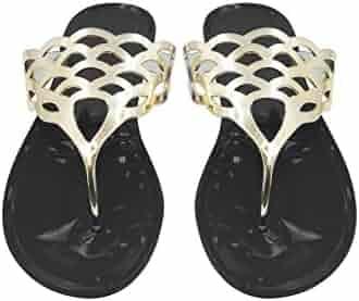 8f4a25b859a3 Sara Z Ladies Jelly Thong Sandal with Metallic Cutout Upper