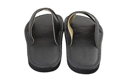 Para Sandalias Piel Hombre Natleat Slippers Negro De qUxwn4BIz