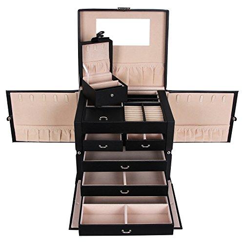 Songmics XXL Schmuckkästchen abschließbar mit spiegel Schublade und Mini-Box 5 Schichten mit 5 Schubladen Schwarz JBC05B