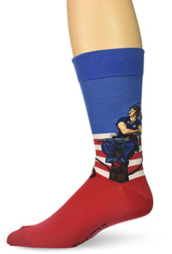 Hot Sox Men's Norman Rockwell Collection Crew Socks, Rosie the Riveter (Red, White, Blue), Shoe Size:6-12 / Sock Size: 10-13 (Red Sox Dress)