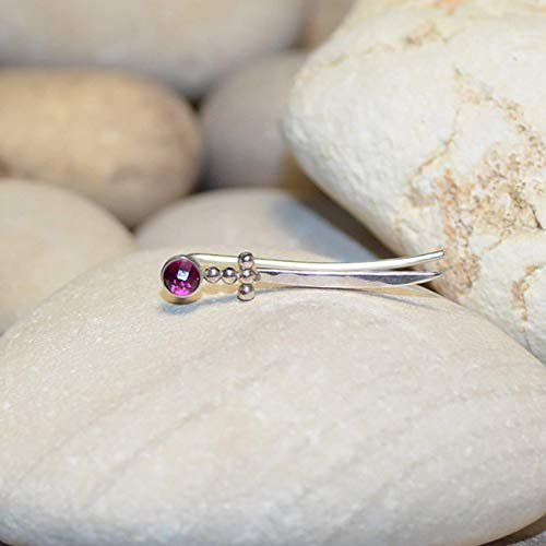 - 3mm Ruby EAR CLIMBER Earring // Silver Ear Cuff - Pin Earrings - Ear Wrap - Bar Studs - Earcuff - Post Stud Earrings