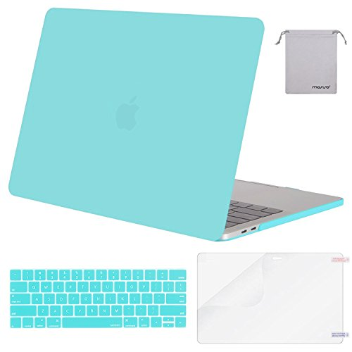 (MOSISO MacBook Pro 13 Case 2018 2017 2016 Release A1989/A1706/A1708, Plastic Hard Shell & Keyboard Cover & Screen Protector & Storage Bag Compatible Newest Mac Pro 13 Inch, Turquoise)