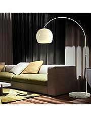 CCLIFE Lampada a Stelo, Lampada ad Arco con Base Rotonda in Marmo, Altezza Regolabile 145-220 cm, 1 x E27, max. 60 W, Colore:Bianco