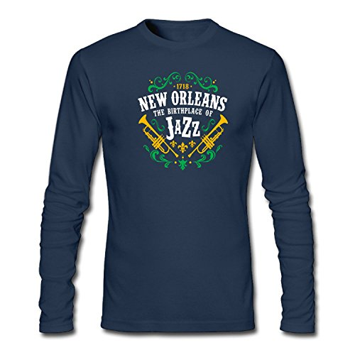 ZJING Men's New Orleans the Birthplace of Jazz Long Sleeve T-Shirt (New Orleans Halloween Ideas)