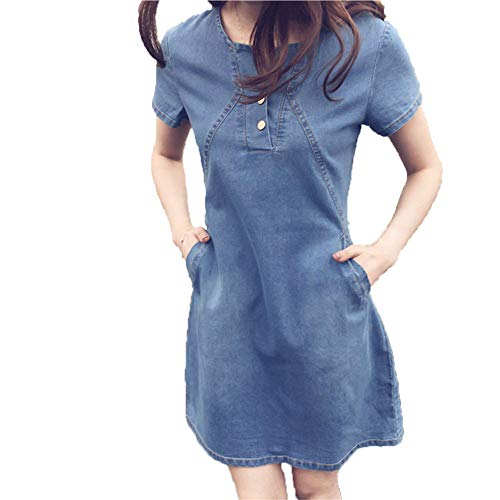 Cotton Floral Turtleneck - iLUGU Mature Mini Dress for Women Short Sleeve Round Collar Button Denim Plus Size Korean Ready Dinner Sexy Evening