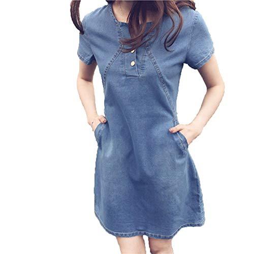 iLUGU Mature Mini Dress for Women Short Sleeve Round Collar Button Denim Plus Size Korean Ready Dinner Sexy Evening