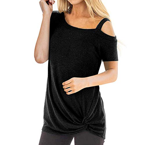 (Gogoodgo Women's Single Shoulder Strap Blouses, Ladies Spaghetti Strap Short Sleeve Asymmetrical Tops Knot Twist Tops Black)