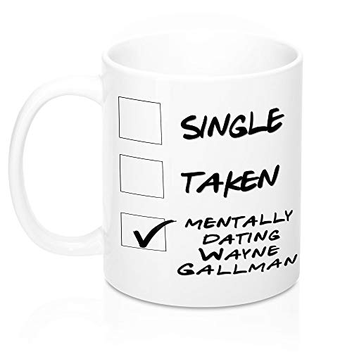 Funny New York Football Mug. Single, Taken, Mentally Dating Wayne Gallman Coffee, Tea Cup. Perfect Giants Fan Lover Memorabilia Gift for Women and Girls. 11 ounces.