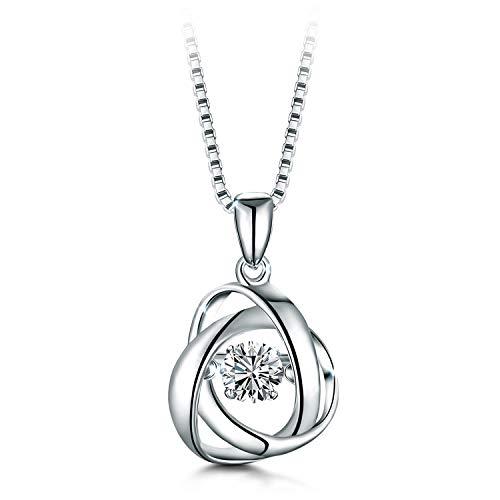 T400 925 Sterling Silver Dancing Diamond Stone White Heart Pendant Necklace Cubic Zirconia from Swarovski Women Wedding Gift