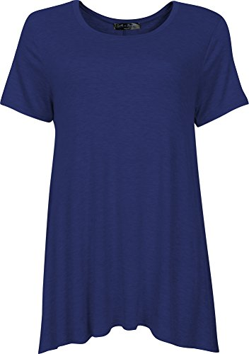 Faith in Flower Made in USA Tunic Short Sleeve Casual Flowy Loose T-Shirt For Women(3XL, Navy)