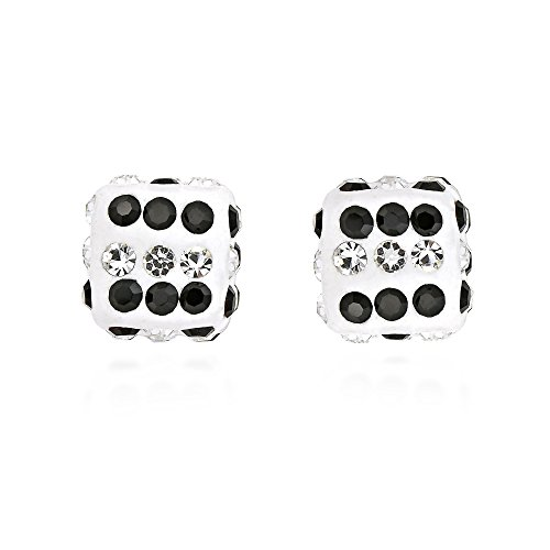 Sparkling 3D Cubic Zirconia Dice .925 Sterling Silver Stud Earrings