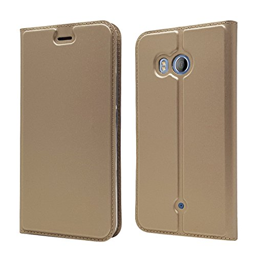 iCoverCase Compatible with HTC U11 Case, Premium PU Magnetic Leather Case, Ultra Slim Lightweight Flip Book Design Wallet Leather Case with Card Slot(Gold)