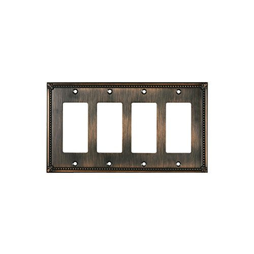 Rok Hardware Wall Light Decora Switch Plate Rocker Toggle GFCI Cover Traditional Brushed Oil-Rubbed Bronze 4 Gang by Rok