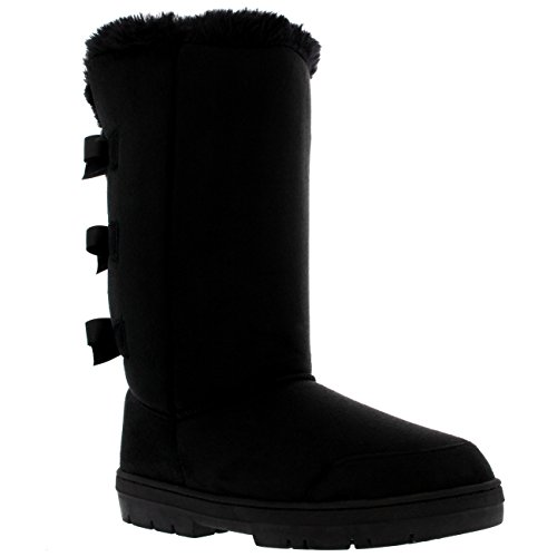 Womens Triplet Bow Tall Classic Waterproof Winter Rain Snow Boots - Black - 9 - BLA40 AEA0230