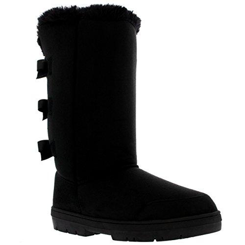 Womens Triplet Bow Tall Classic Waterproof Winter Rain Snow Boots - Black - 9 - BLA40 (Faux Fur Bow)