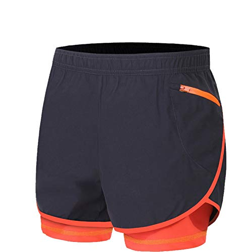 2 in 1 Men's Marathon Running Shorts Gym Trunks M-4XL Man Gym Short Pants Short Sport Cycling Shorts Plus Size,Dark Gray -