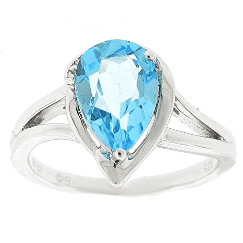 10x7 Pear Shaped Blue Topaz .02 cttw Diamond Sterling Silver Ring Sz 7 (Topaz Pear Shaped)