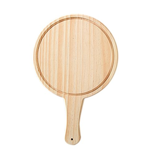 (MagiDeal Round Wooden Board Kitchen Pizza Bread Plate Serving Tray With Handle - Beige, 8inch)