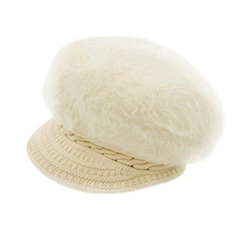 Rebecca Women Vintage Faux Fur Beanie Hat Braid Knitting Brim Warm Snow Ski Crochet Skull Cap with Visor Cabbie Cap Beige