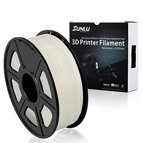 SUNLU PLA Plus 3D Printer Filament - 1KG(335m/1099ft) 1.75mm, Dimensional Accuracy +/- 0.02 mm, 1KG(2.2LBS) Spool 1.75 mm, White (Ivory White) ()