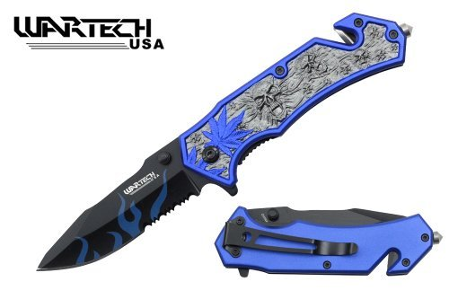 Wartech 8 Assisted Open Folding Tactical Pocket Knife Marijuana Leaf and Skull Design Blue Handle Color: Blue, Home Improvement Tool