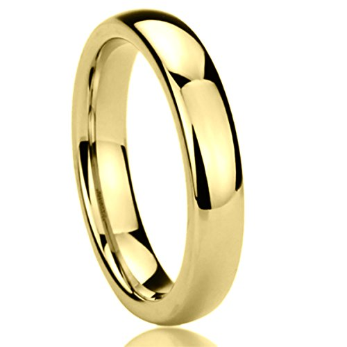 4MM Titanium Womens Rings Yellow Tone High Polished Classy Domed Comfort Fit Wedding Bands SZ: 7.5