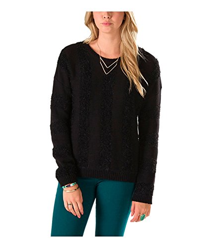 Vans Women's Off The Wall Vertical Stripe Caylee Sweater-Black-Medium -