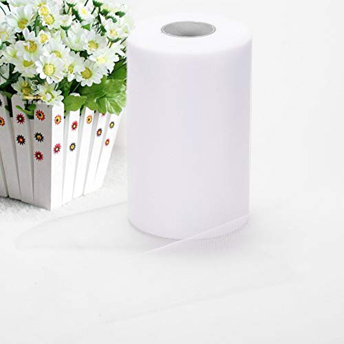 Haperlare 6 Inch x 200 Yards (600FT) White Tulle Rolls Tulle Spool White Tulle Fabric Rolls Wedding Tulle for Gift Bow Craft Tutu Skirt Wedding Party Decorations by Haperlare (Image #1)